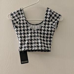 Black milk houndstooth Nana suit crop top xxs new